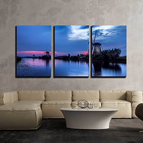 the Famous Mills of Kinderdijk in the Netherlands x3 Panels
