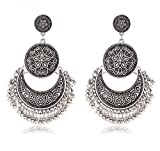 Crunchy Fashion Bollywood Style Traditional Indian Jewelry Oxidized Silver Dangle and Drop Earrings for Women