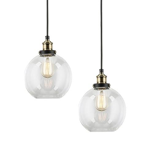 2 pack modern industrial vintage glass globe pendant light mklot