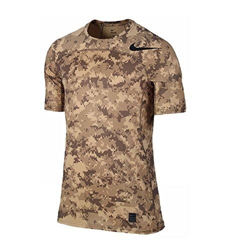 Camicia Di Compressione Attillata Nike Mens Pro Ipercool Camouflage 848884-010 Kaki / Lino / Nero