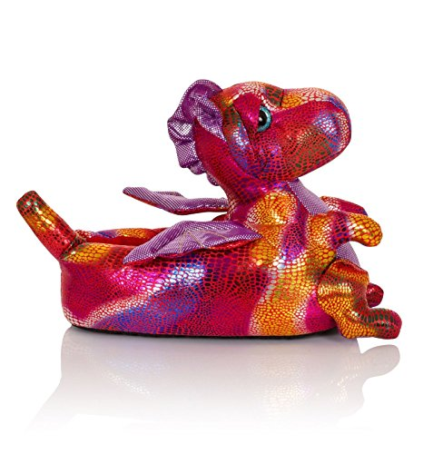 Luxury 3D Novelty Ladies Or Girls Animal Character Plush Slippers Red - Dina Dragon e37MMofFs