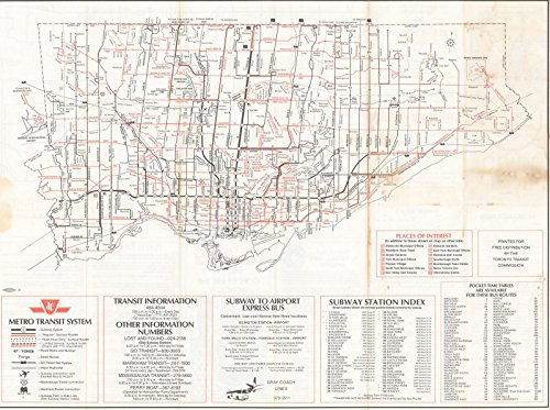 Historic Pictoric Map | Downtown Toronto Transit Map 1981 Railroad Cartography | Vintage Poster Art Reproduction | 24in x 18in ()