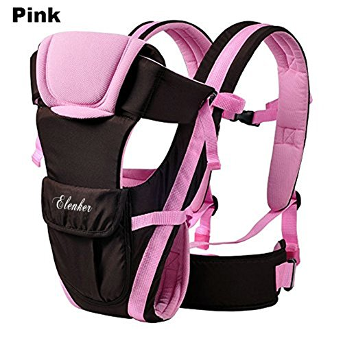 Pink Baby Sling (ELENKER Adjustable 4 Positions Carrier 3D Backpack Pouch Bag Wrap Soft Structured Ergonomic Sling Front Back Newborn Baby Infant Pink)