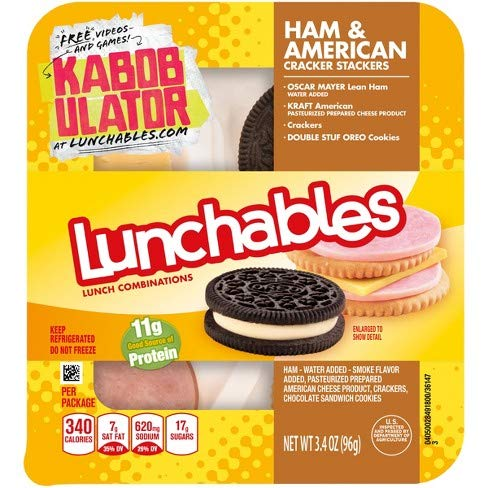 - OSCAR MAYER LUNCHABLES HAM & AMERICAN CHEESE WITH CRACKERS 3.2 OZ PACK OF 5
