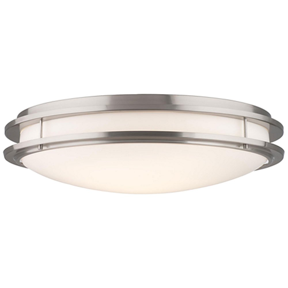 Forecast Lighting F2458-36U Cambridge Two-Light Energy Efficient Flushmount with White Acrylic Diffuser, Satin Nickel