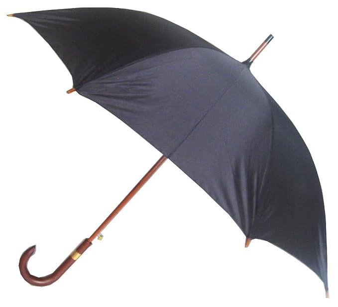 6cddea9ed79c Men's Auto Wooden Stick Umbrella, Black