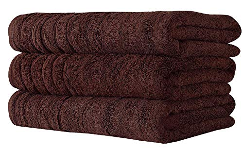 SALBAKOS Oversized Bath Towels Barnum Collection - Turkish Luxury Hotel & Spa Quality 30x56 Oversize Bath Towels 100% Combed Cotton, Eco-Friendly (Set of 3, Chocolate)