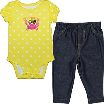 d8eee0f08edd2 カーターズ(Carter s)黄色水玉ボディー パンツセット 女の子イエロードット柄かに