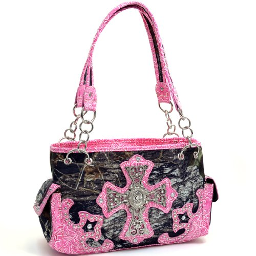 - Mossy Oak Studded Camouflage Shoulder Bag with Rhinestone Cross & Floral Trim - Camouflage/Pink Trim
