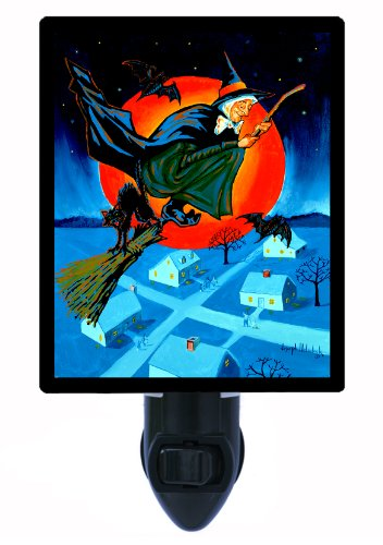 Halloween Night Light, Above The Rooftops, Witch, LED Night -