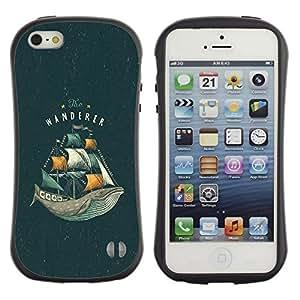 "Pulsar iFace Series Tpu silicona Carcasa Funda Case para Apple iPhone SE / iPhone 5 / iPhone 5S , Ballenas del Océano Mar Vignette Libro Sails"""