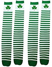 Amosfun 2 Pairs St. Patricks Day Shamrock Socks Women Long Socks Thigh High Stockings St. Patrick Party Supplies