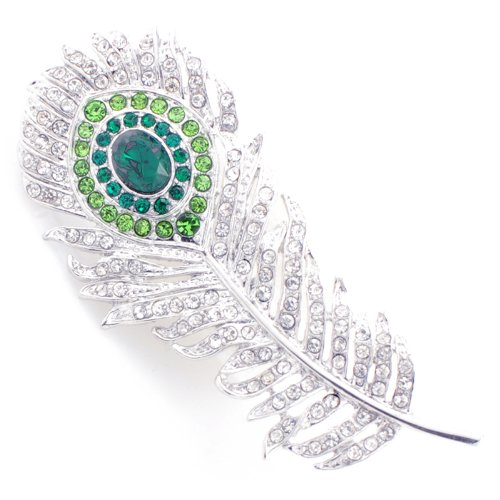 - Emerald & Crystal Peacock Feather Brooch