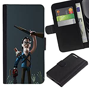 KLONGSHOP // Tirón de la caja Cartera de cuero con ranuras para tarjetas - Carácter cazador de escopeta 3D Niños - Apple Iphone 6 PLUS 5.5 //