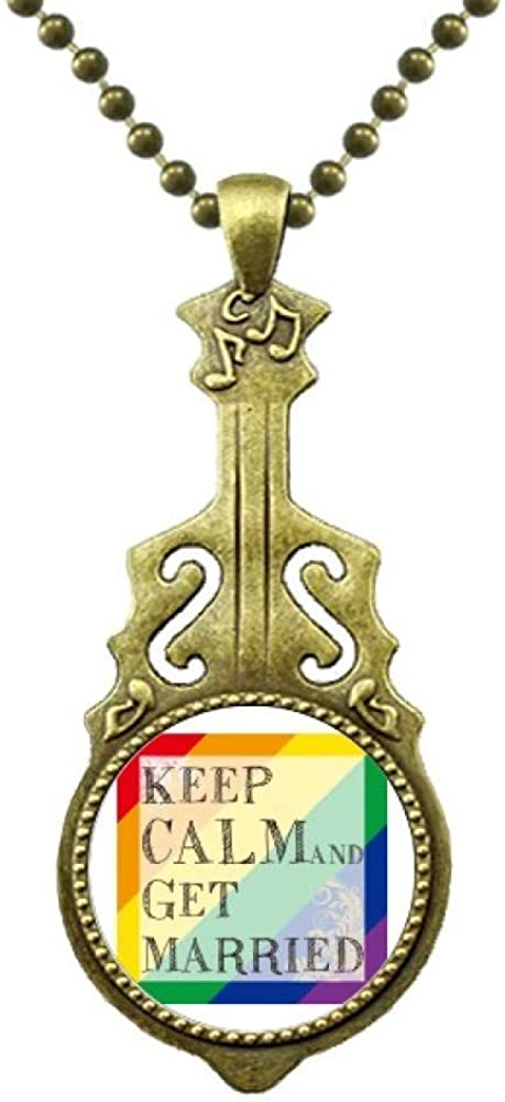 DIYthinker LGBT Rainbow Flag Get Married Necklace Antique Guitar Jewelry Music Pendant