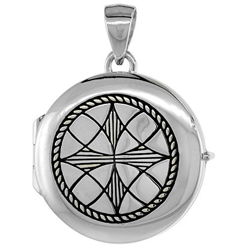 [Small Sterling Silver Round Locket Celtic Five-fold Knot Flawless Quality Finish, 7/8 inch] (Small Round Locket Pendant)