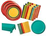 Southwest Teal Fiesta Party Supply Bundle for 16 Guests - Includes Plates, Napkins and Tablecover