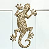Whole House Worlds The Lucky Lizard, Island Style Tropical Gecko Wall Art, Distressed Finish, Beige with Rustic White, Lacquered Iron, Bas Relief Sculpture, 16 ½ Inches Long, By