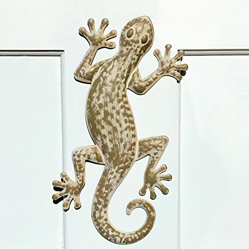 The Lucky Lizard, Island Style Tropical Gecko Wall Art, Distressed Finish, Beige with Rustic White, Lacquered Iron, Bas Relief Sculpture, 16 ½ Inches Long, By Whole House Worlds Tropical Gecko Lizard Wall