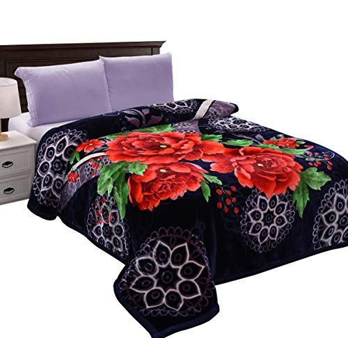 (JML Heavy Thick Plush Velvet Korean Style Mink Blanket, Two Ply Reversible Raschel Blanket with One Side Embossed, King and Queen, Purple)