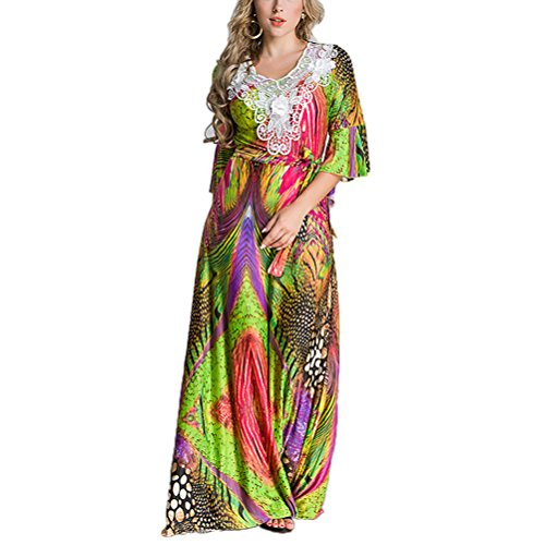 OULII Women Maxi Dress Arabic Style Printed Half Sleeve Gown Middle Eastern Style Robe Size XL