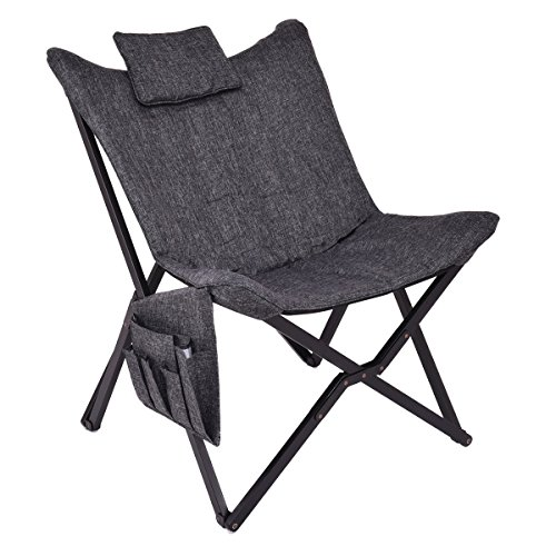 AK Energy Folding Butterfly Chair Seat Solid Black Wooden Frame Home Office Furniture Side Pocket Bag