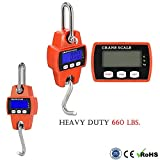660 LBS 300 KG Professional Heavy Duty Electronic Digital Crane Scale w/ LCD Display – Industrial Mini Hanging Stainless Steel Hook Weight | Smart Measuring Accurate Sensor for Hunting Fishing Outdoor