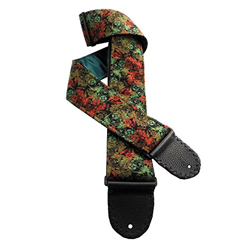Victorian Floral Filigree Handmade Guitar Strap Green Red Sage Black with Hunter Green Back Lining