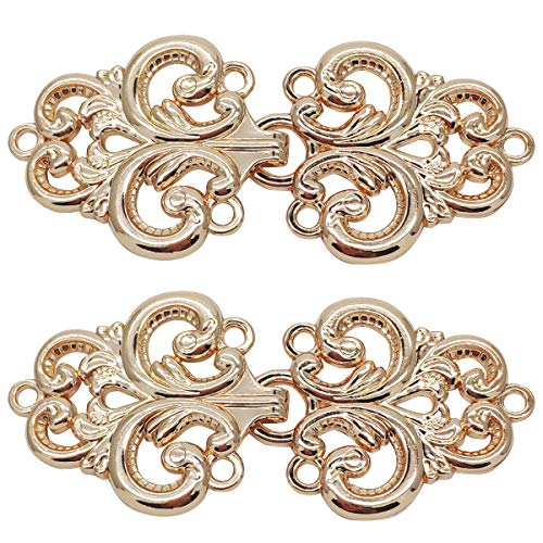 Gold Swirl Pattern - Monkey Rise 10 Pairs Retro Baroque Swirl Follower Pattern Cloak Clasp, Sew On Hooks and Eyes Cardigan Clip 68x38mm(Gold)