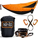 Cheap Double Camping Hammock – Portable Two Person Parachute Hammock for Outdoor Hanging. Heavy Duty & Lightweight, Best for Backpacking & Travel. Sunset Edition (Black/Orange)