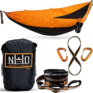 Double Camping Hammock - Portable Two Person Parachute Hammock for Outdoor Hanging. Heavy Duty & Lightweight, Best for Backpacking & Travel. Sunset Edition (Black/Orange)