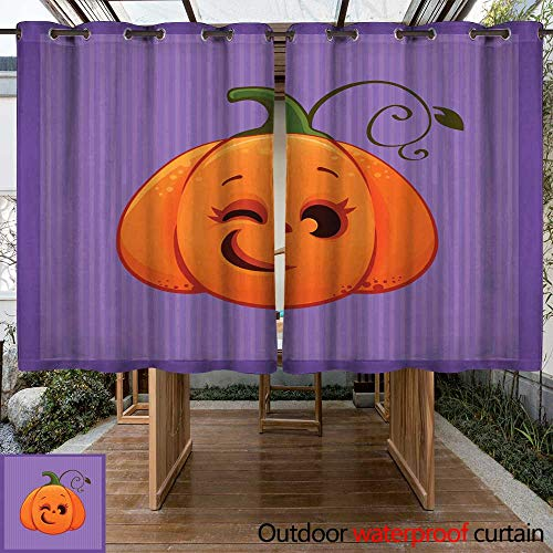 RenteriaDecor Outdoor Curtains for Patio Sheer Vector Illustration of a Cartoon Winking Halloween Pumpkin W55 x L72 -