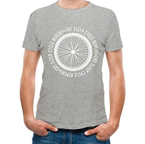 Eat Sleep Cycle Repeat - Gift Cyclist Biking Bike Riders Men's T-Shirt Large Gray