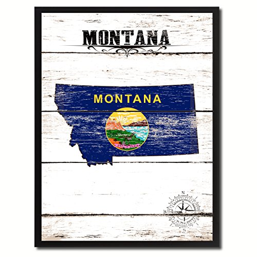 - Montana State Vintage Flag Canvas Print Black Picture Frame Gift Ideas Home Decor Wall Art Decoration, 7