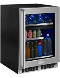 Marvel MP24WB4R 24 Wide 16-Bottle and 112-Can Built-In Dual Zone Wine and Bever, Panel Ready Frame Glass Door