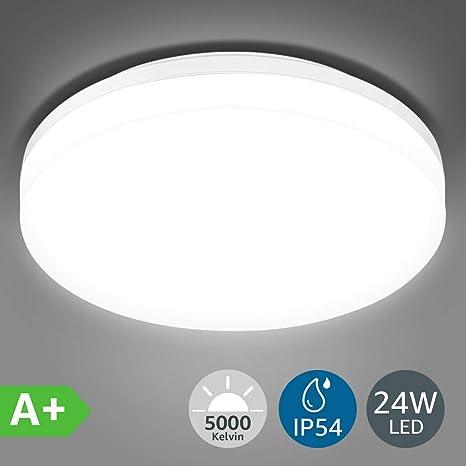 LE 24W Lámpara LED de Techo Plafón LED de Baño Impermeable ...