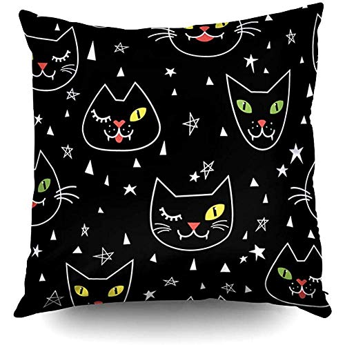 glabery X'Mas Pattern Cute Black Cats Funny Halloween Background Decorative Throw Pillow Case 18X18 Inch,Home Decoration Pillowcase Zippered Cushion Covers with Words for Book Lover Worm Sofa Couch