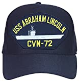 USS Abraham Lincoln CVN-72 baseball cap. Navy Blue. Made in USA