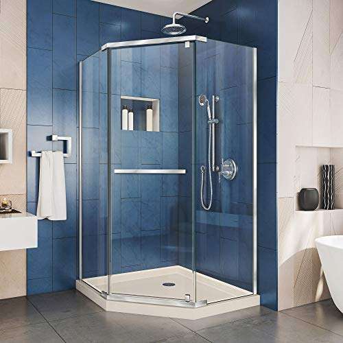 DreamLine Prism x 42 in. Frameless Pivot Corner Shower Enclosure in Chrome with Biscuit Acrylic Base Kit, DL-6033-22-01