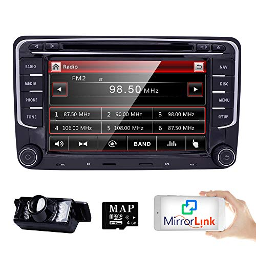 HD 7 Inch Double Din Car Stereo GPS DVD Navi for VW Golf Polo Passat Tiguan Jetta EOS+US Map+Camera Capacitive Screen