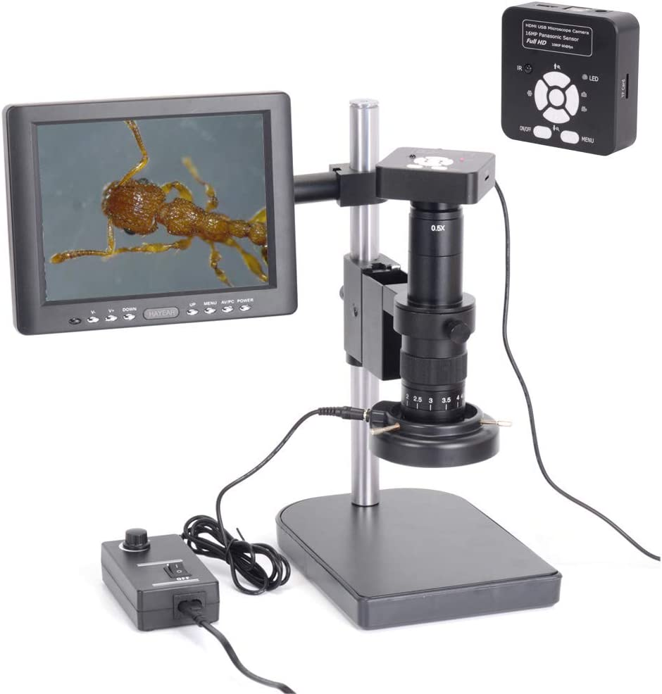 HAYEAR Full Set HD 16MP 1080P 60FPS 2K Digital Industrial Microscope Camera HDMI USB Outputs+180X C-Mount Lens+8 HD LCD Monitor 60 LED Illumination Light Lamp