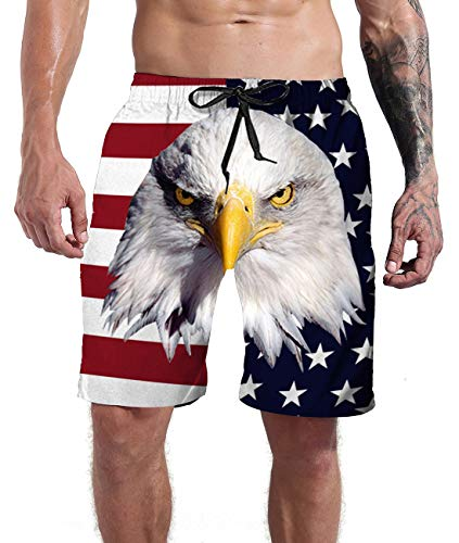 Mens Bathing Suits Summer Holiday Independence Day Beach American Flag Cool Novelty Patriotic USA Swim Trunks White Board Shorts XL