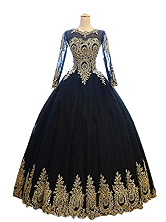 Mollybridal Gold Lace Applique Quinceanera Prom Dresses with Long Sleeves Corset Ball Gowns Black/Gold
