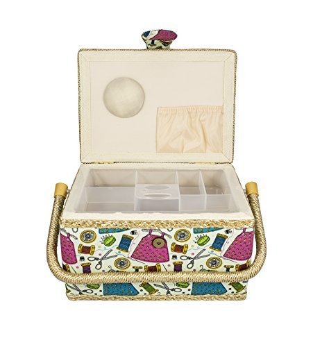 Best Price MEDIUM SIZE SEWING BASKET W/ HANDY INSERT AND SEWING NOTIONS
