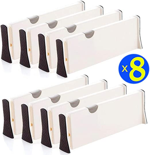 "Set of 4 Plastic Drawer Dividers 11/"" 17/"" Expandable Kitchen Drawer Organize NEW"