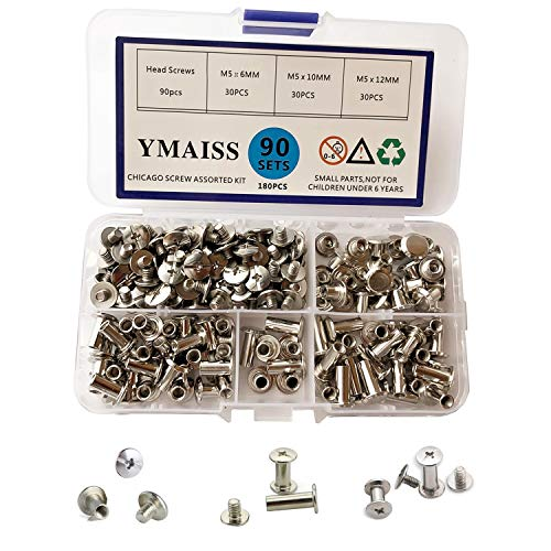 Seloky 75 Sets Silvery Chicago Screws Assorted Kit 1//4 3//8 1//2 Inches Screw Post
