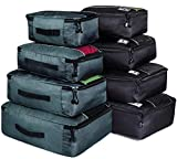 Packing Cubes Luggage Suitcase Organizer Bags for Travel Accessories 8 Set (Black Grey)