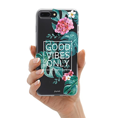 iPhone 8 Plus iPhone 7 Plus Aloha Love Summer Tropical Colorful Hawaii Floral Clear Rubber Case Good Vibes Only Palm Tree Beach Floral Rose Girl Case for iPhone 8 Plus(7 Plus) Photo #9