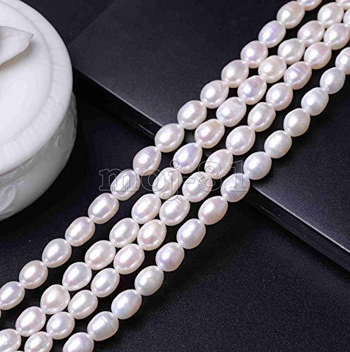 FidgetFidget Genuine 6-7mm Natural White Freshwater Pearl Rice Loose Beads 15'' Strand AAA