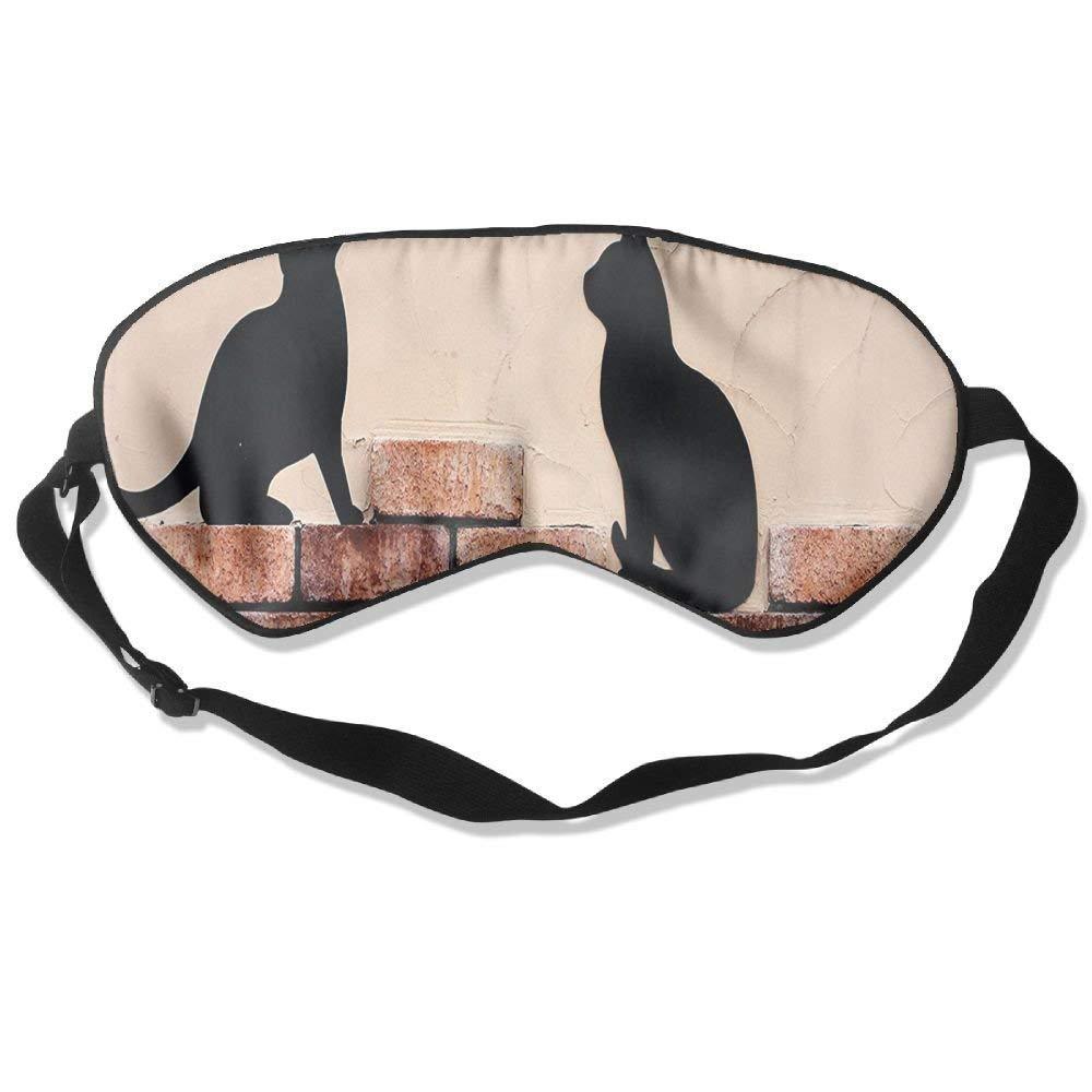 BetterStory Black Kittens On Red Brick Wall Adjustable Sleeping Eyes Mask Shading Sleep Mask